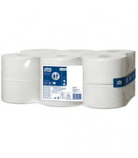 Tork Advanced toilet porridge mini jumbo 1-ply white, 240 mtr x 10 cm, pack of 12 rolls