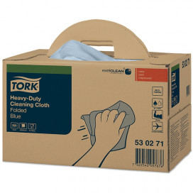 Tork Premium 530 work cloth 1-ply blue 43x39 box of 200 sheets
