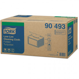 Tork Low-Lint work cloth, 1-ply turquoise, 38.5 x 19.3 cm, box